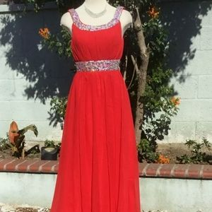 J.J.  Formal Long Dress Sleeveless Sequins Accents Chiffon Evening Party Red 4